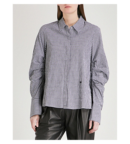 MO&CO. Gingham ruched-sleeve shirt (Black+and+white