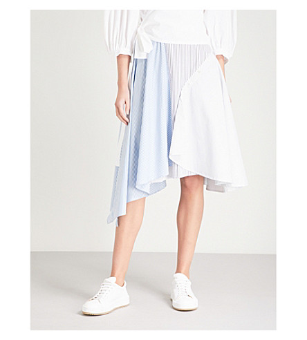 Cotton poplin striped skirt