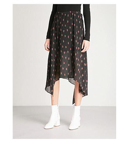 MO&CO. Floral-print asymmetric crepe skirt (Black+pattern