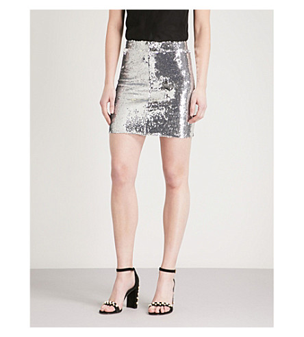 MO&CO. High-rise sequin skirt (Silver