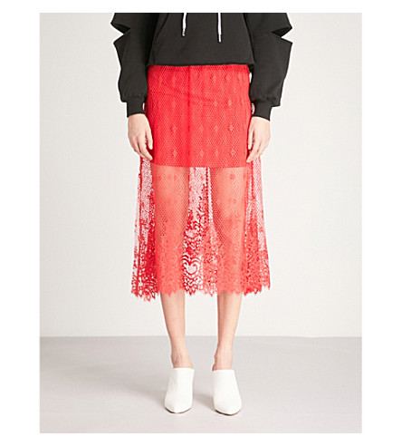 MO&CO. Floral lace skirt (High+risk+red