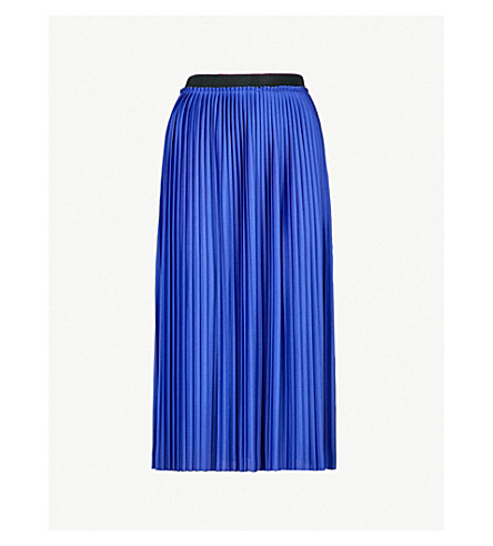 MO&CO. Pleated satin skirt (Clematis+blue