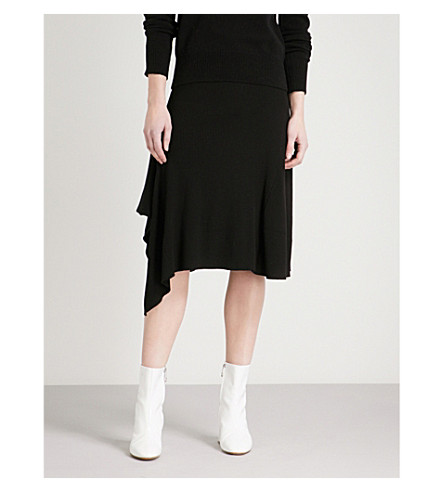 MO&CO. Asymmetric-hem high-rise knitted skirt (Black