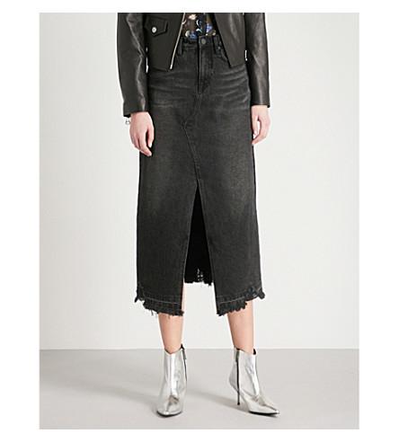 MO&CO. Distressed denim midi skirt (Black+denim