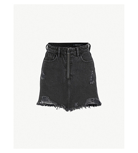 MO&CO. High-rise distressed denim skirt (Black+denim