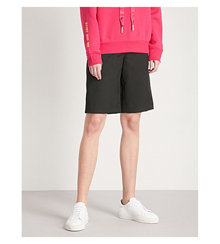 MO&CO. Wide-leg wool-blend shorts (Black