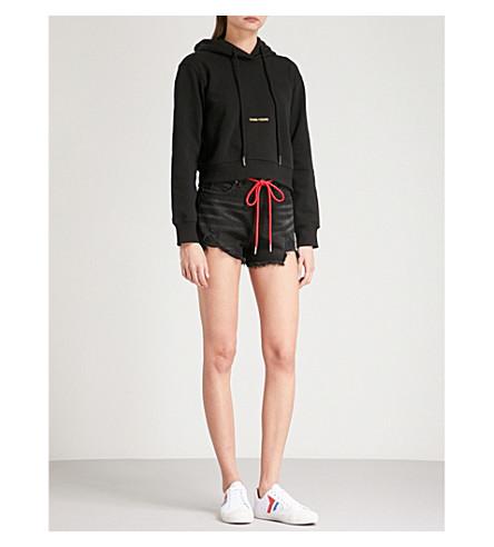 MO&CO. Frayed-hem denim shorts (Black+denim