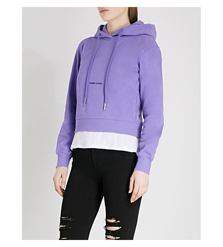 MO&CO. Damn Young cotton-blend hoody (Aster+purple