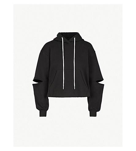 MO&CO. Cutout-sleeve cotton-blend hoody (Black