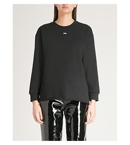 MO&CO. Printed cotton-jersey sweatshirt (Black