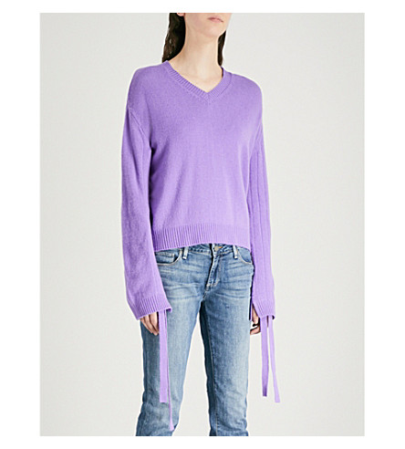 MO&CO. Drawstring-sleeve wool jumper (Aster+purple
