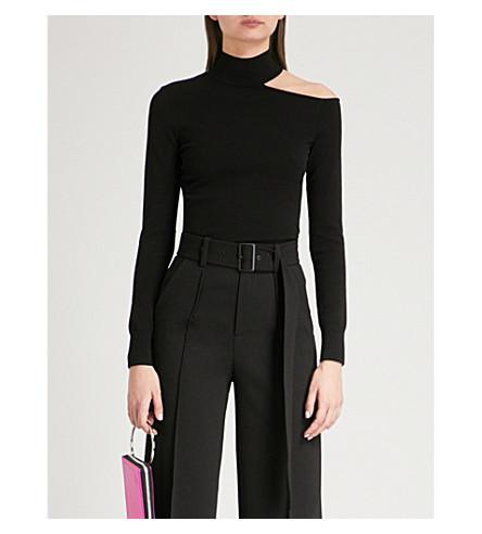 MO&CO. Cold-shoulder knitted jumper (Black