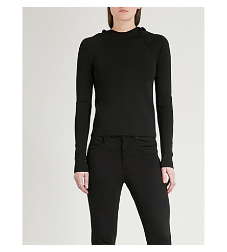 MO&CO. Raw trims knitted hoody (Black