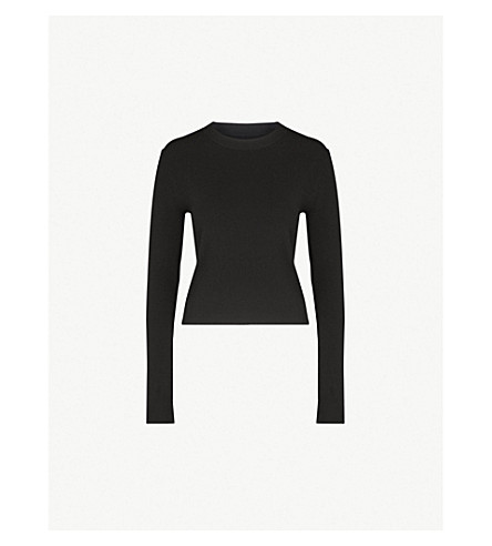 MO&CO. Cutout-back knitted jumper (Black