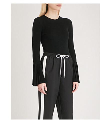 MO&CO. Pleated-cuff wool-blend jumper (Black
