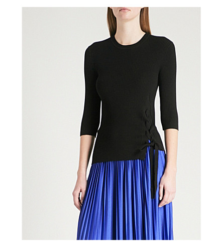 MO&CO. Tie-side knitted top (Black