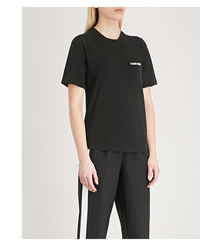 MO&CO. Slogan-embroidered stretch-jersey T-shirt (Black