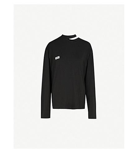MO&CO. Cutout jersey top (Black