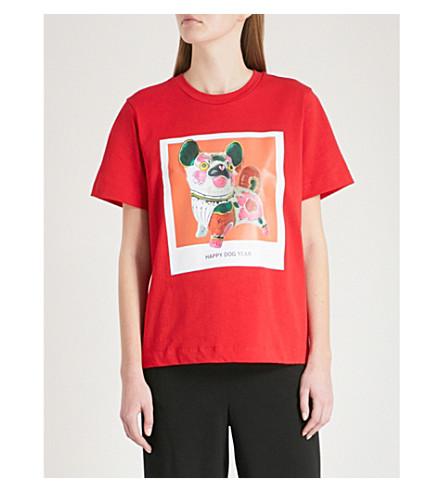 MO&CO. Boyfriend cut printed T-shirt (High+risk+red