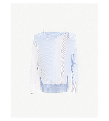 MO&CO. Cold-shoulder striped cotton shirt (Blue+and+white