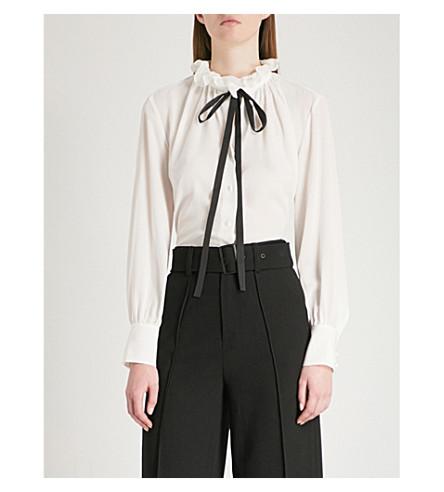 MO&CO. Ruffled neck-tie silk-crepe shirt (Snow+white