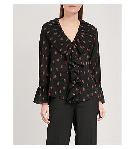 MO&CO. Floral-print ruffled chiffon top (Black+pattern