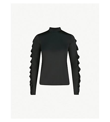 MO&CO. Frilled trim satin-feel top (Black