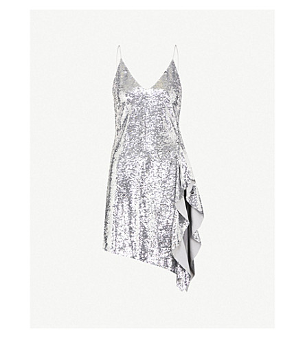 MO&CO. Asymmetric-hem sequin dress (Silver