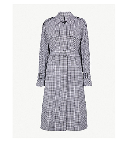 MO&CO. Stretch cotton trench coat (Black+and+white