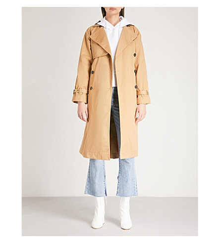 MO&CO. Double-breasted cotton-twill trench coat (Prairie+sand