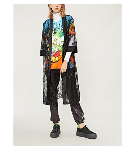 MO&CO.花卉蕾丝和缎布延绳外套 (黑色