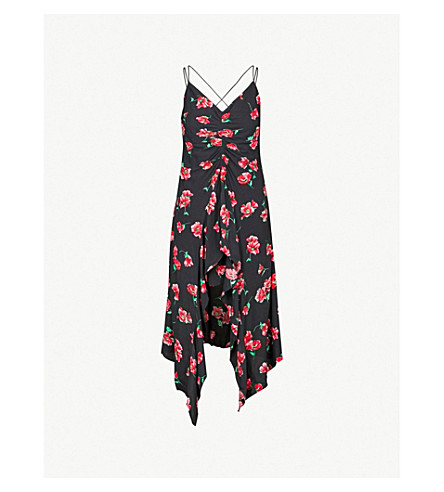 MO&CO. Floral-print spaghetti-strap woven dress (Pink+and+black