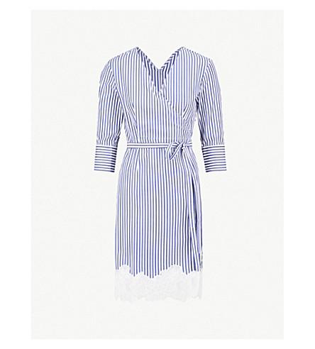 MO&CO.条纹棉质连衣裙 (蓝色 + + 白色