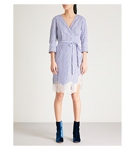 Factory Price Sale Manchester MO&CO. Striped cotton dress Blue and white New Online For Sale Buy Authentic Online Cheap Official r3YuB2N