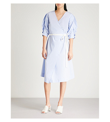 MO&CO. Ruched-sleeve cotton-blend wrap dress (Kentucky+blue