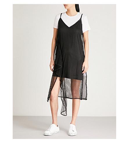MO&CO. Mesh cotton-blend slip dress Black Cheap Authentic Outlet Cheap Amazon ED2eMKnwnc