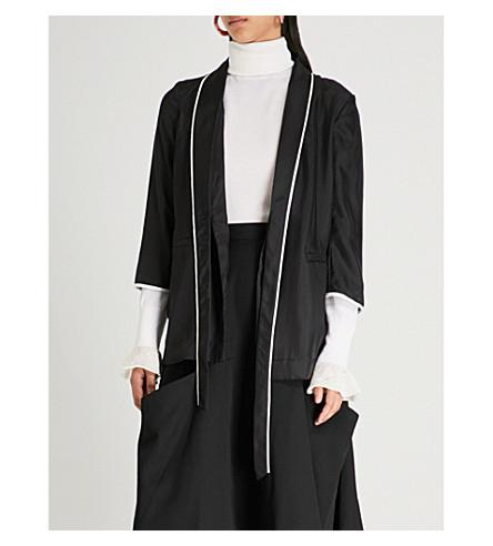 MO&CO. Contrast-trim crepe jacket (Black