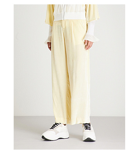 Countdown Package Cheap Price MO&CO. High-rise velvet trousers Wax yellow Sale Pre Order EI6XMBK