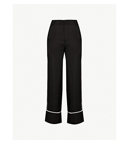 MO&CO. Side-stripe crepe straight-leg trousers (Black