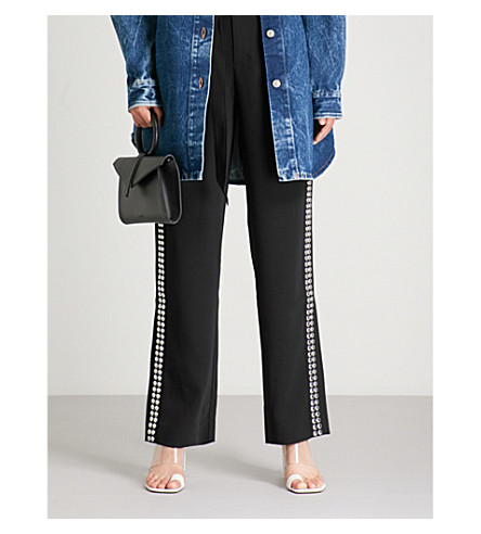 MO&CO. Studded crepe trousers (Black