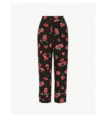 MO&CO.花印高腰梭织裤子 (粉红色 + + 黑色