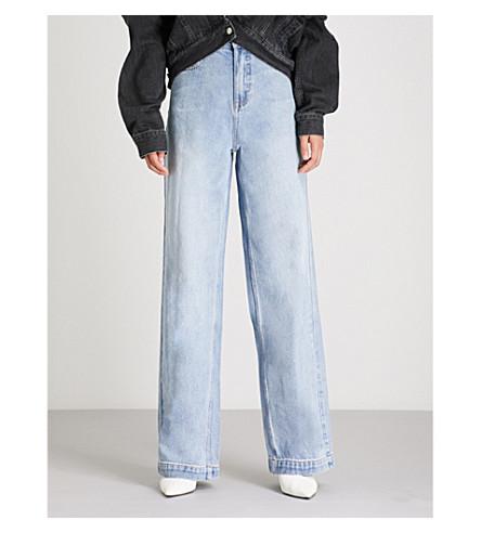 MO&CO.褪色的高腰阔腿牛仔裤 (轻 + 牛仔 + 蓝色