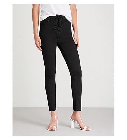 jeans Black skinny denim MO stretch waist CO denim amp Lace up wzq8HUw