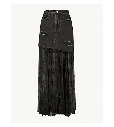 MO&CO. High-rise lace and denim maxi skirt (Black+denim