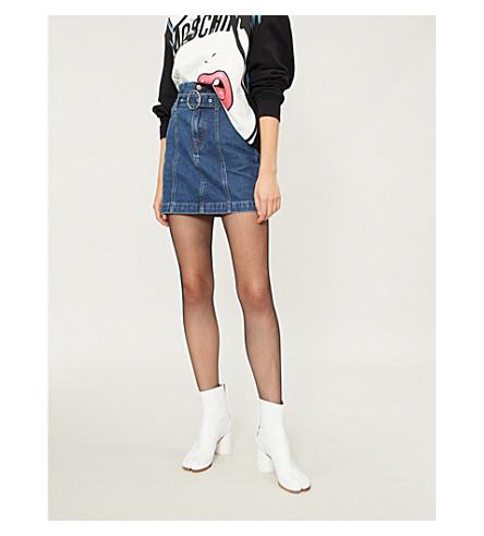 MO&CO. Belted denim mini skirt (Light+denim+blue