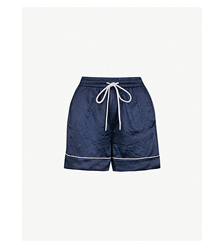MO&CO. High-rise satin shorts (Peacoat