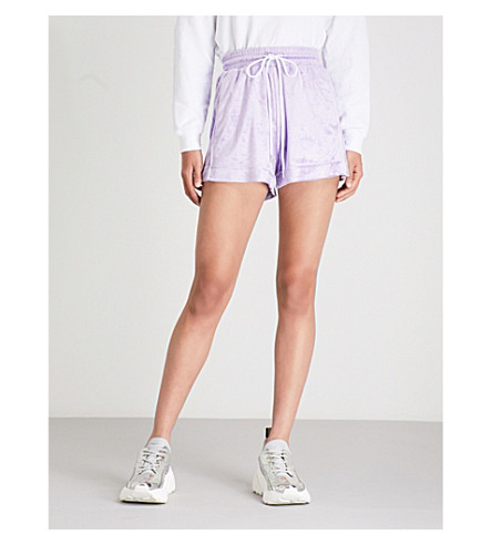 MO&CO. High-rise velvet shorts (Paisley+purple