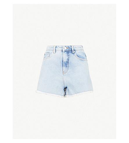 MO&CO.高腰仿旧牛仔短裤 (蓝色 + 牛仔布