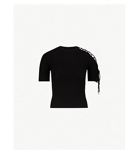MO&CO.剪棉混合 T 恤 (黑色