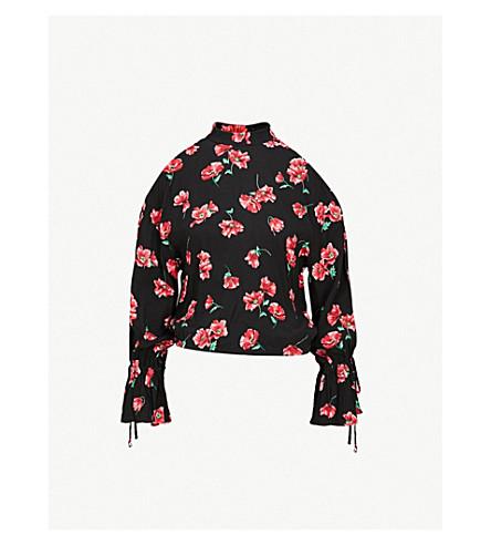 MO&CO.花印纺织上衣 (粉红色 + + 黑色